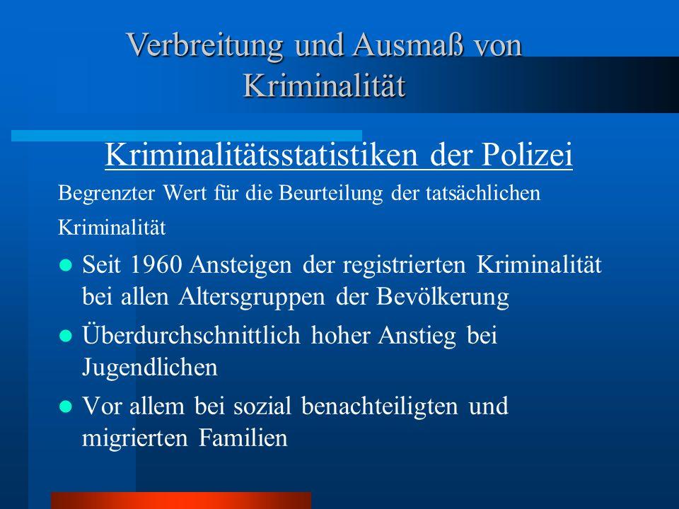 Kriminalitätsstatistiken der Polizei Begrenzter Wert für die Beurteilung der tatsächlichen Kriminalität Seit 1960 Ansteigen der registrierten Kriminal