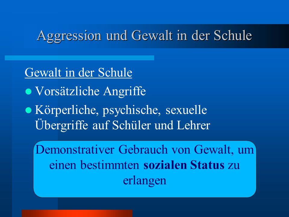 Aggression und Gewalt in der Schule Gewalt in der Schule Vorsätzliche Angriffe Körperliche, psychische, sexuelle Übergriffe auf Schüler und Lehrer Dem