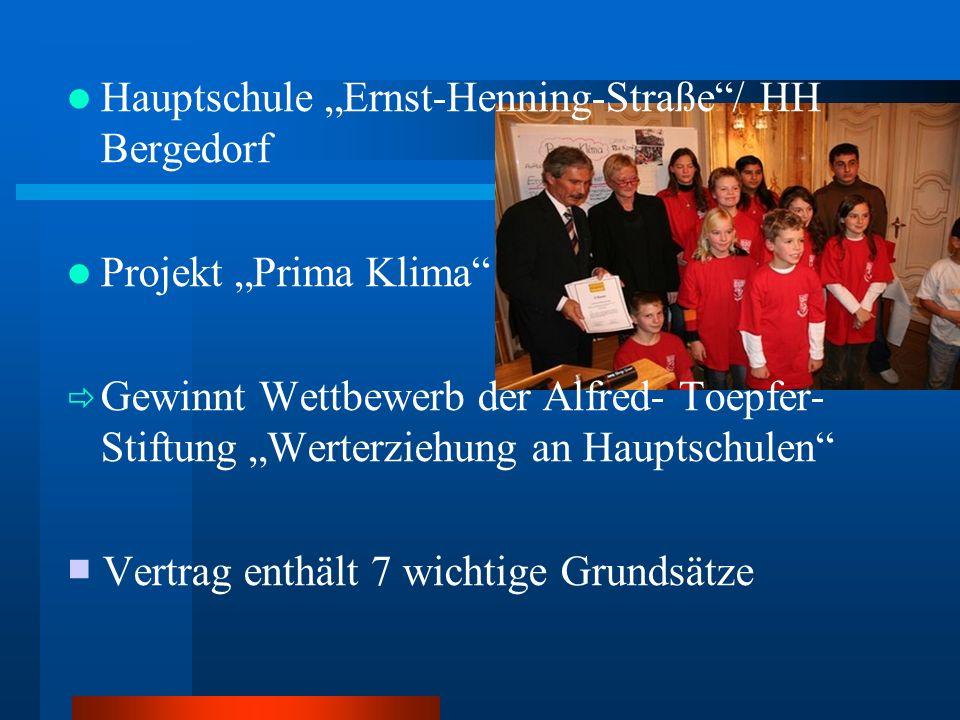 Hauptschule Ernst-Henning-Straße/ HH Bergedorf Projekt Prima Klima Gewinnt Wettbewerb der Alfred- Toepfer- Stiftung Werterziehung an Hauptschulen Vert