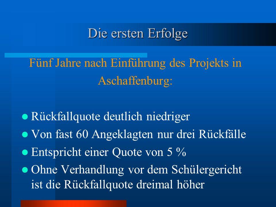 Die ersten Erfolge Fünf Jahre nach Einführung des Projekts in Aschaffenburg: Rückfallquote deutlich niedriger Von fast 60 Angeklagten nur drei Rückfäl