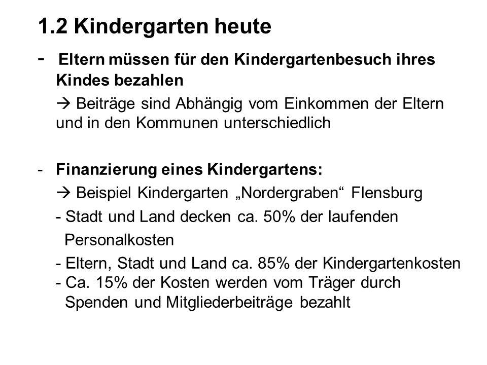 1.2 Kindergarten heute - Eltern müssen für den Kindergartenbesuch ihres Kindes bezahlen Beiträge sind Abhängig vom Einkommen der Eltern und in den Kom