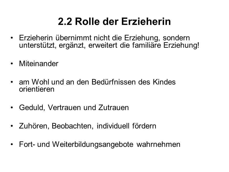 2.2 Rolle der Erzieherin Erzieherin übernimmt nicht die Erziehung, sondern unterstützt, ergänzt, erweitert die familiäre Erziehung! Miteinander am Woh