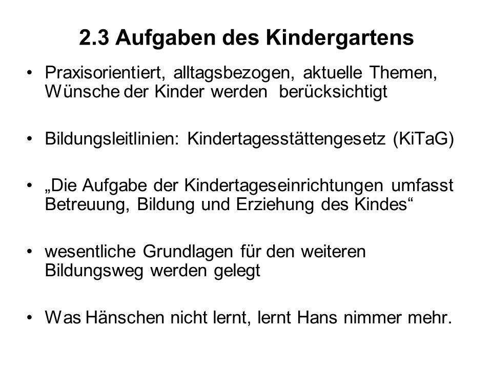 2.3 Aufgaben des Kindergartens Praxisorientiert, alltagsbezogen, aktuelle Themen, Wünsche der Kinder werden berücksichtigt Bildungsleitlinien: Kindert
