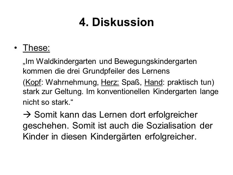 4. Diskussion These: Im Waldkindergarten und Bewegungskindergarten kommen die drei Grundpfeiler des Lernens (Kopf: Wahrnehmung, Herz: Spaß, Hand: prak