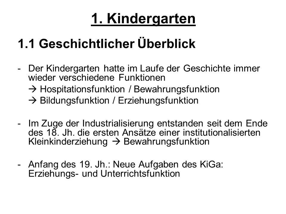 1. Kindergarten 1.1 Geschichtlicher Überblick -Der Kindergarten hatte im Laufe der Geschichte immer wieder verschiedene Funktionen Hospitationsfunktio