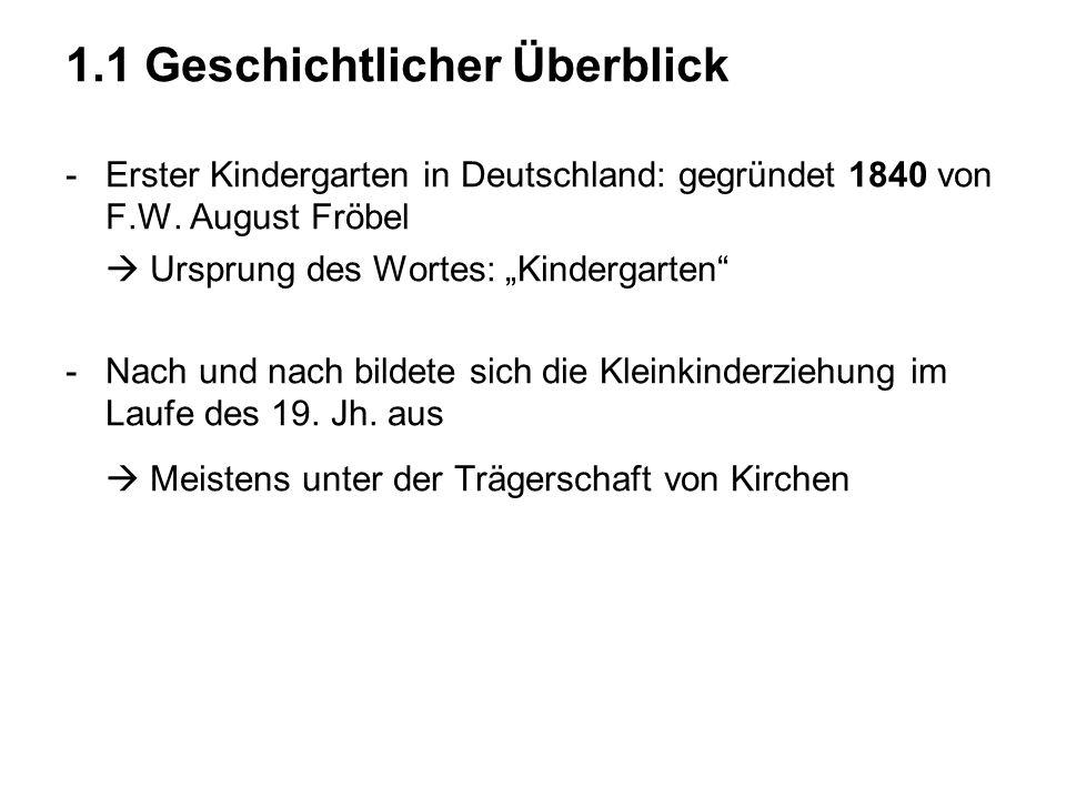 1.1 Geschichtlicher Überblick -Erster Kindergarten in Deutschland: gegründet 1840 von F.W. August Fröbel Ursprung des Wortes: Kindergarten -Nach und n
