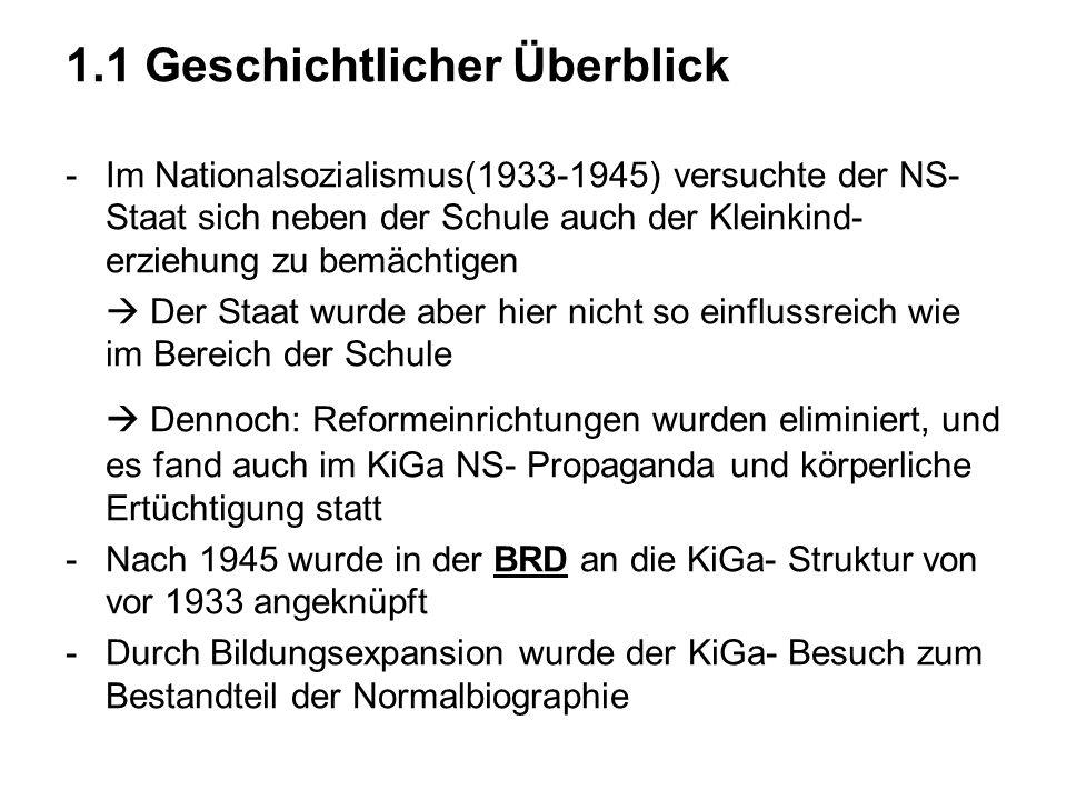 1.1 Geschichtlicher Überblick -Im Nationalsozialismus(1933-1945) versuchte der NS- Staat sich neben der Schule auch der Kleinkind- erziehung zu bemäch
