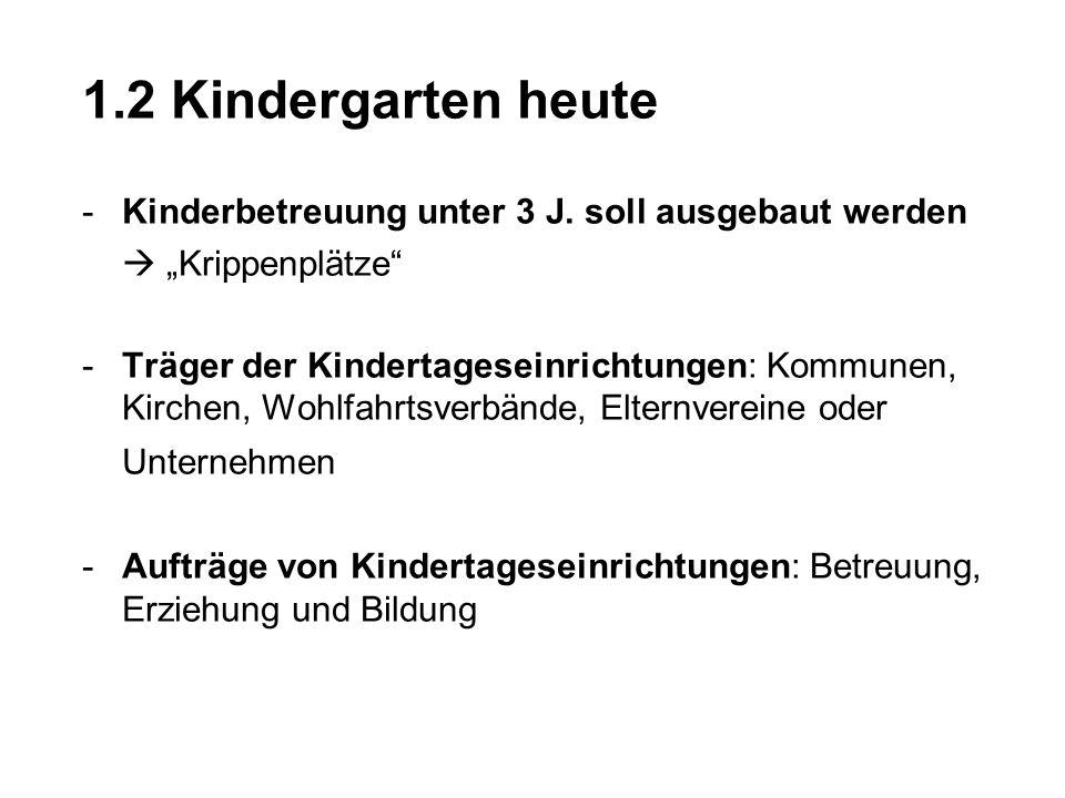 1.2 Kindergarten heute -Kinderbetreuung unter 3 J. soll ausgebaut werden Krippenplätze -Träger der Kindertageseinrichtungen: Kommunen, Kirchen, Wohlfa