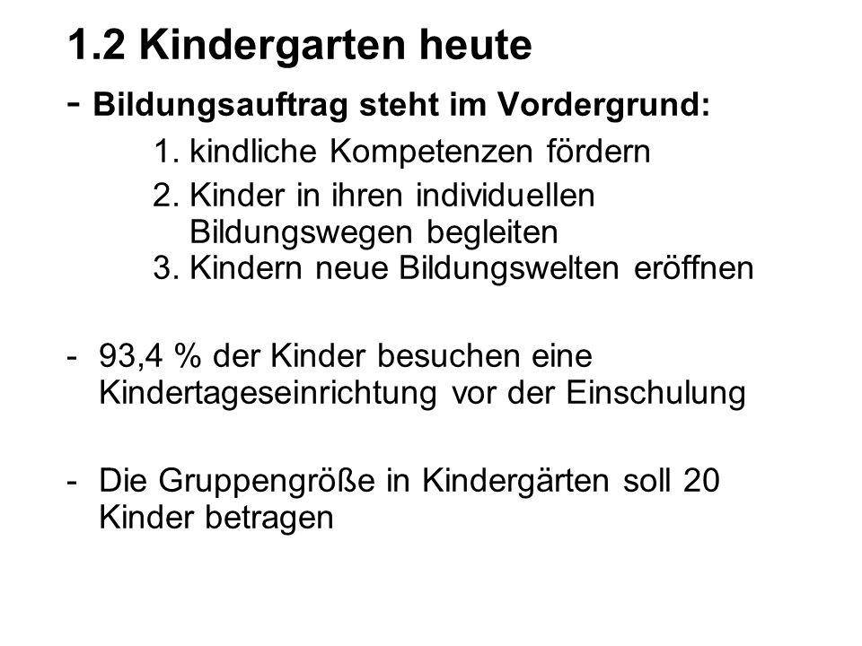1.2 Kindergarten heute - Bildungsauftrag steht im Vordergrund: 1. kindliche Kompetenzen fördern 2. Kinder in ihren individuellen Bildungswegen begleit