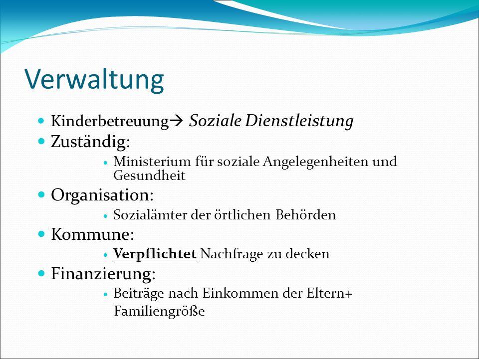 Verwaltung Kinderbetreuung Soziale Dienstleistung Zuständig: Ministerium für soziale Angelegenheiten und Gesundheit Organisation: Sozialämter der örtl