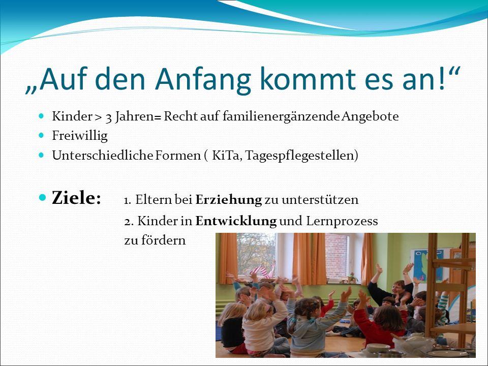 Auf den Anfang kommt es an! Kinder > 3 Jahren= Recht auf familienergänzende Angebote Freiwillig Unterschiedliche Formen ( KiTa, Tagespflegestellen) Zi