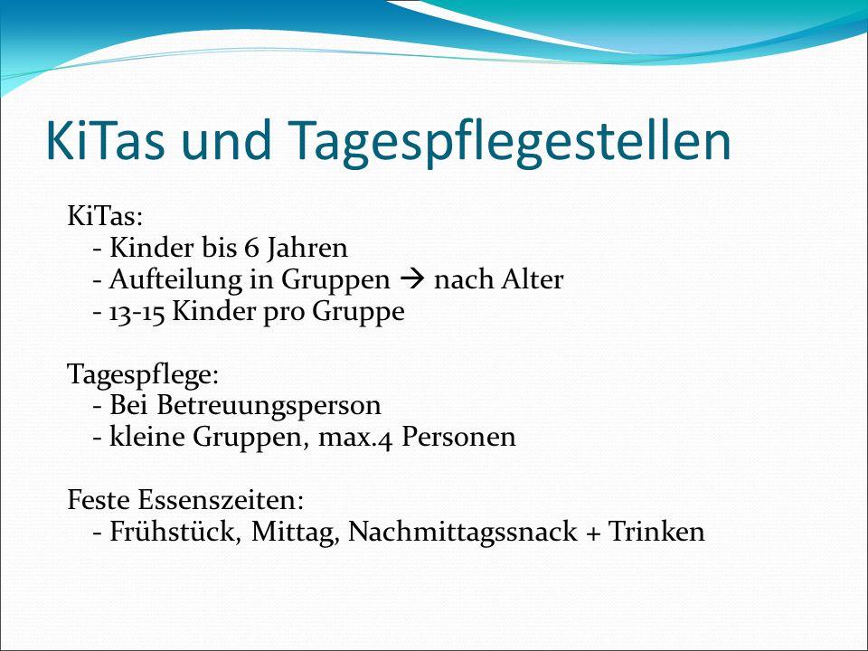 KiTas und Tagespflegestellen KiTas: - Kinder bis 6 Jahren - Aufteilung in Gruppen nach Alter - 13-15 Kinder pro Gruppe Tagespflege: - Bei Betreuungspe
