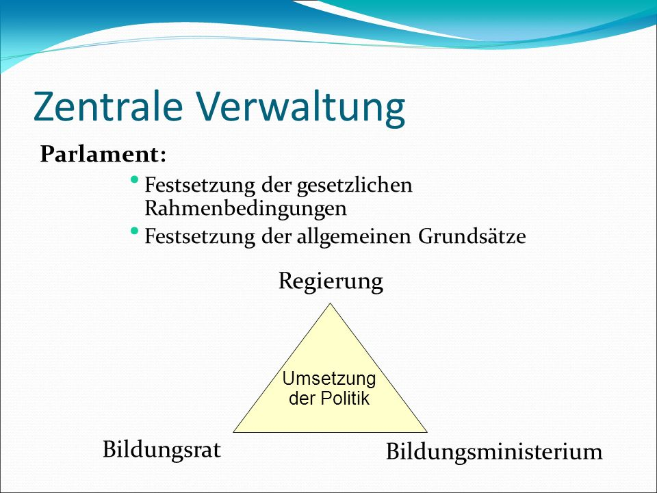 Zentrale Verwaltung Parlament: Festsetzung der gesetzlichen Rahmenbedingungen Festsetzung der allgemeinen Grundsätze Umsetzung der Politik Regierung B