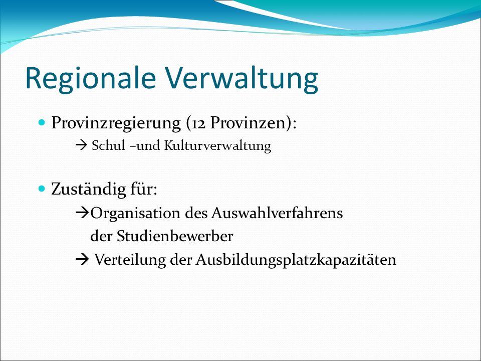 Regionale Verwaltung Provinzregierung (12 Provinzen): Schul –und Kulturverwaltung Zuständig für: Organisation des Auswahlverfahrens der Studienbewerbe