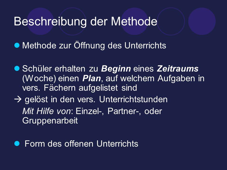 Beschreibung der Methode Methode zur Öffnung des Unterrichts Schüler erhalten zu Beginn eines Zeitraums (Woche) einen Plan, auf welchem Aufgaben in ve