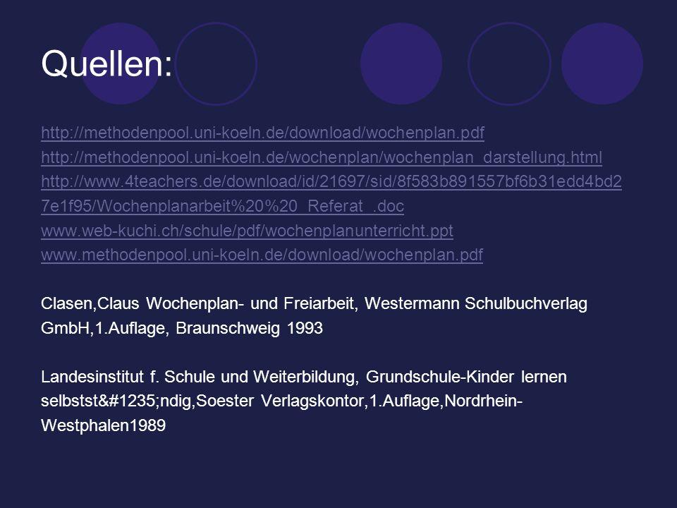 Quellen: http://methodenpool.uni-koeln.de/download/wochenplan.pdf http://methodenpool.uni-koeln.de/wochenplan/wochenplan_darstellung.html http://www.4