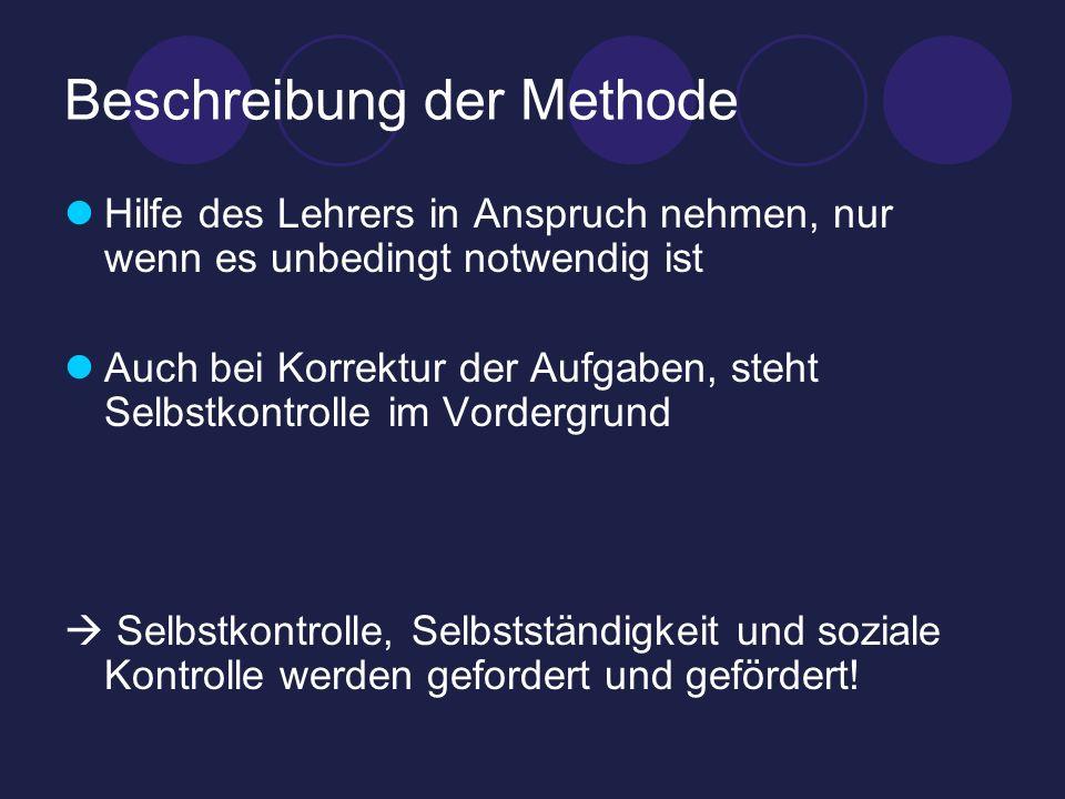 Beschreibung der Methode Hilfe des Lehrers in Anspruch nehmen, nur wenn es unbedingt notwendig ist Auch bei Korrektur der Aufgaben, steht Selbstkontro