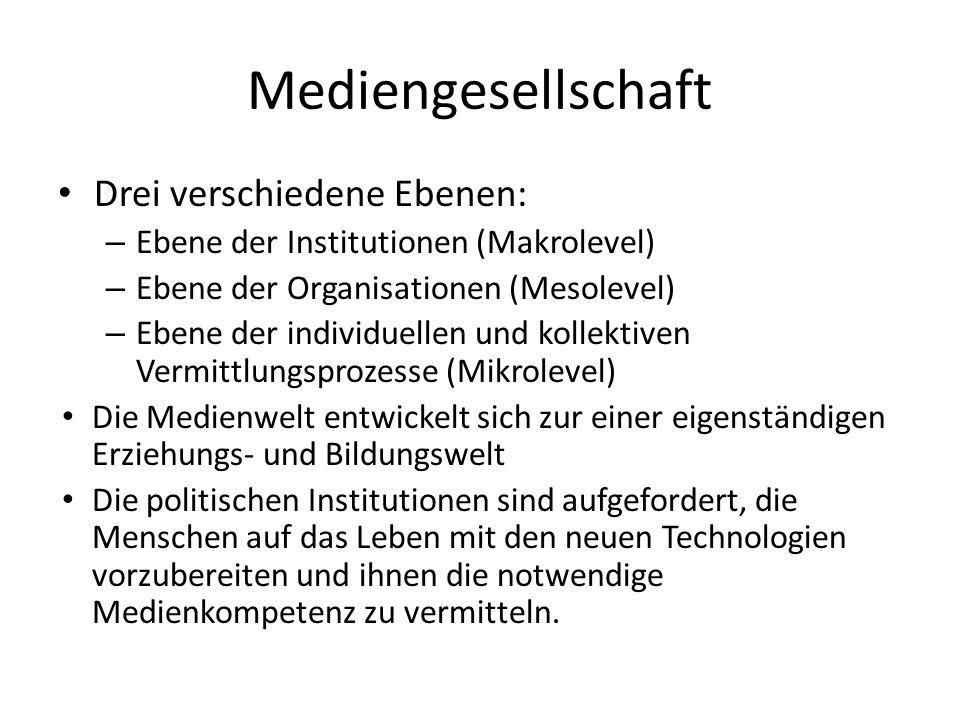Mediengesellschaft Drei verschiedene Ebenen: – Ebene der Institutionen (Makrolevel) – Ebene der Organisationen (Mesolevel) – Ebene der individuellen u