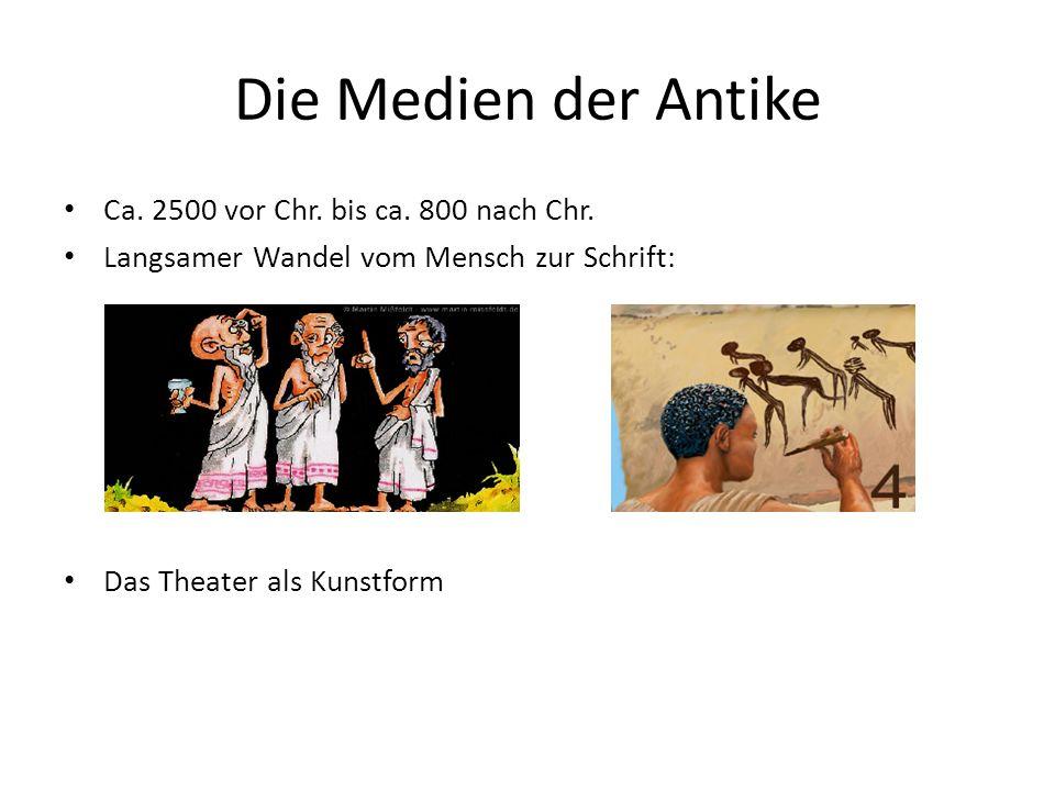 Die Medien der Antike Ca. 2500 vor Chr. bis ca. 800 nach Chr. Langsamer Wandel vom Mensch zur Schrift: Das Theater als Kunstform