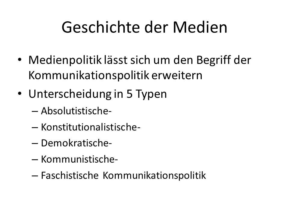 Geschichte der Medien Medienpolitik lässt sich um den Begriff der Kommunikationspolitik erweitern Unterscheidung in 5 Typen – Absolutistische- – Konst
