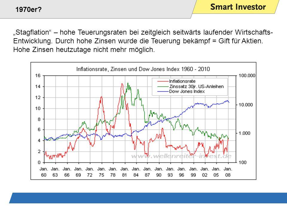 Stagflation – hohe Teuerungsraten bei zeitgleich seitwärts laufender Wirtschafts- Entwicklung.