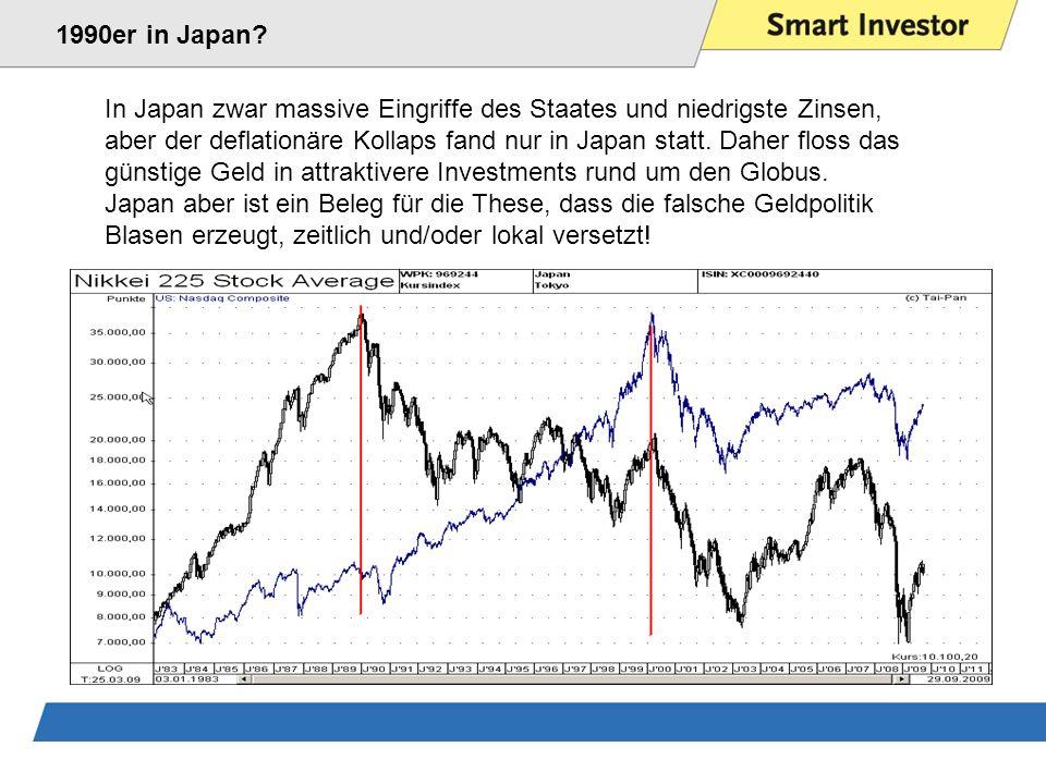In Japan zwar massive Eingriffe des Staates und niedrigste Zinsen, aber der deflationäre Kollaps fand nur in Japan statt.