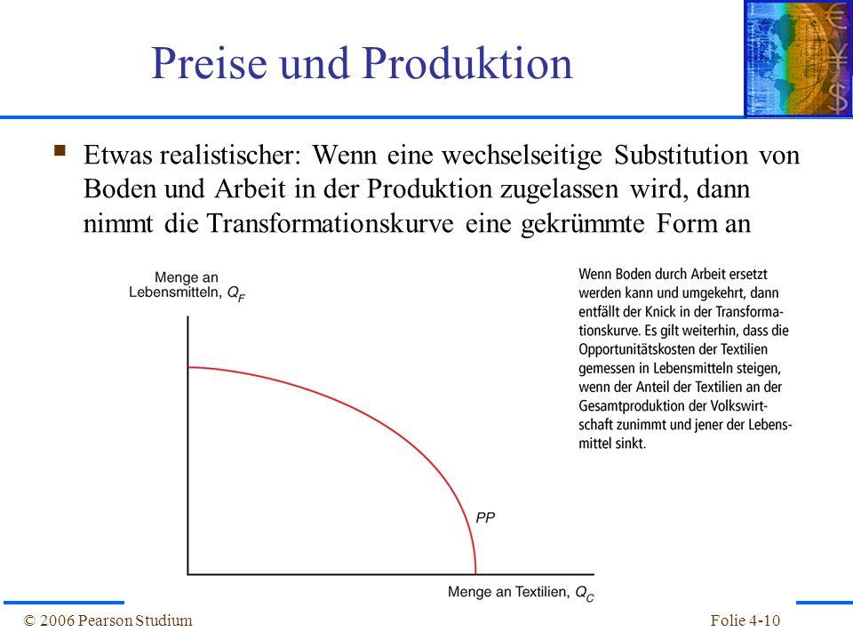 Folie 4-10© 2006 Pearson Studium Etwas realistischer: Wenn eine wechselseitige Substitution von Boden und Arbeit in der Produktion zugelassen wird, da