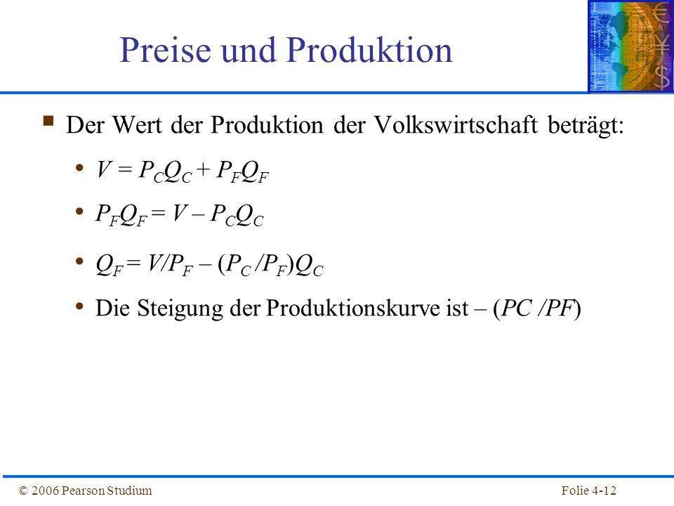 Folie 4-12© 2006 Pearson Studium Preise und Produktion Der Wert der Produktion der Volkswirtschaft beträgt: V = P C Q C + P F Q F P F Q F = V – P C Q