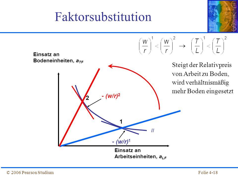 Folie 4-18© 2006 Pearson Studium Faktorsubstitution // 1 2 Einsatz an Bodeneinheiten, a TF Einsatz an Arbeitseinheiten, a LF - (w/r) 2 - (w/r) 1 Steig