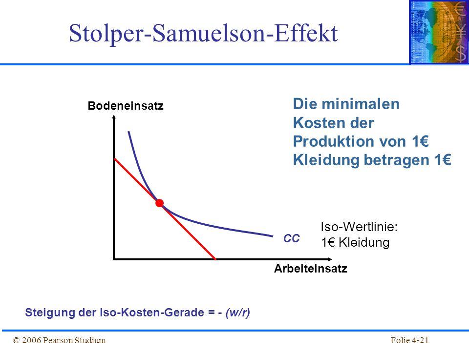 Folie 4-21© 2006 Pearson Studium Stolper-Samuelson-Effekt Bodeneinsatz Arbeiteinsatz Steigung der Iso-Kosten-Gerade = - (w/r) Die minimalen Kosten der