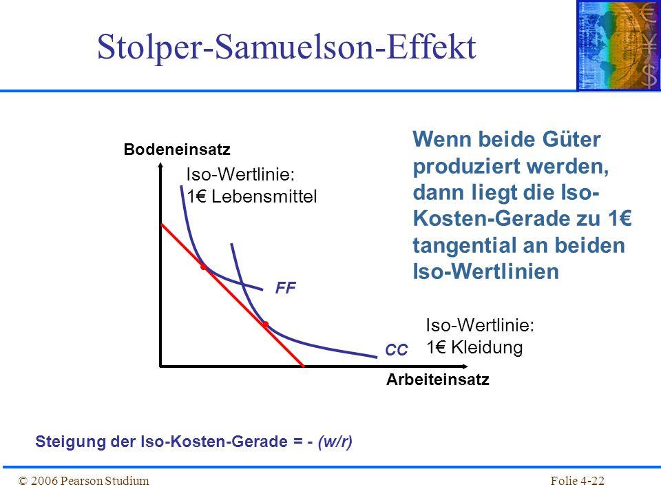 Folie 4-22© 2006 Pearson Studium Stolper-Samuelson-Effekt Bodeneinsatz Arbeiteinsatz Steigung der Iso-Kosten-Gerade = - (w/r) Wenn beide Güter produzi