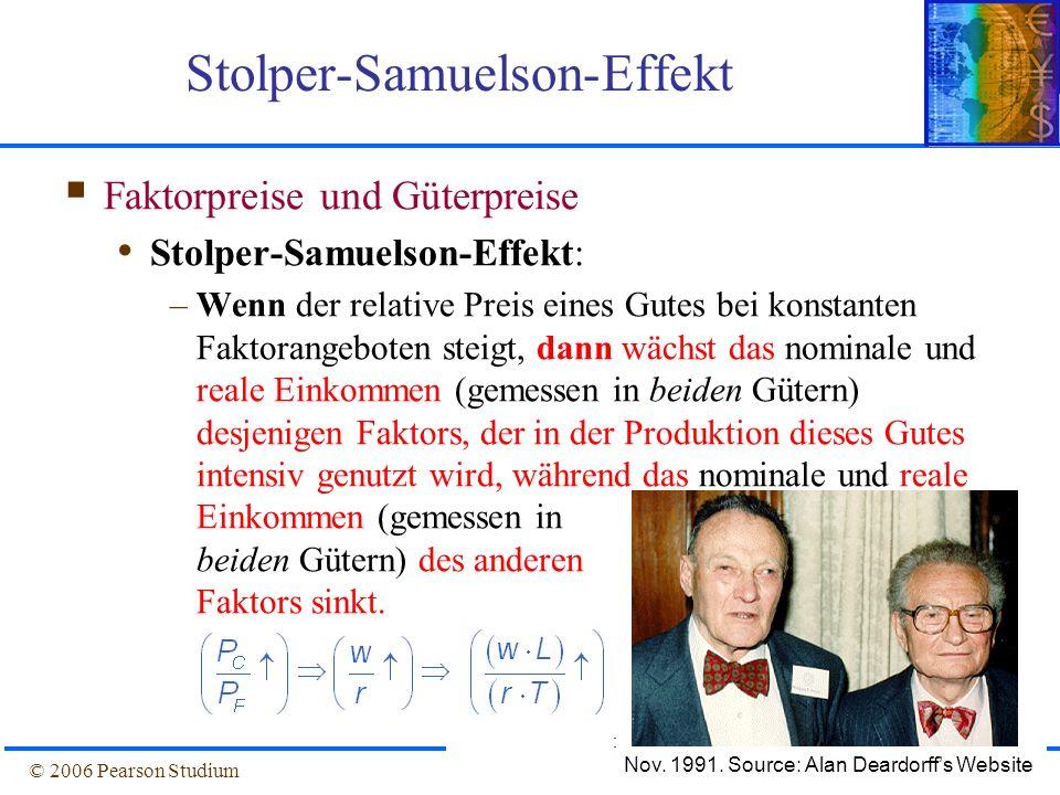 Folie 4-29© 2006 Pearson Studium Stolper-Samuelson-Effekt Faktorpreise und Güterpreise Stolper-Samuelson-Effekt: –Wenn der relative Preis eines Gutes