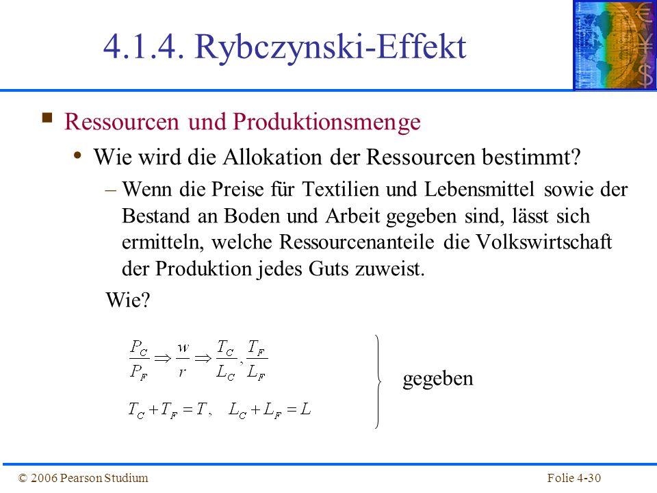Folie 4-30© 2006 Pearson Studium 4.1.4. Rybczynski-Effekt Ressourcen und Produktionsmenge Wie wird die Allokation der Ressourcen bestimmt? –Wenn die P