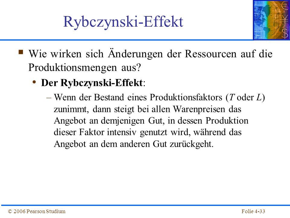 Folie 4-33© 2006 Pearson Studium Wie wirken sich Änderungen der Ressourcen auf die Produktionsmengen aus? Der Rybczynski-Effekt: –Wenn der Bestand ein