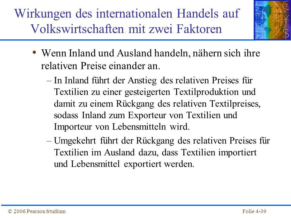 Folie 4-39© 2006 Pearson Studium Wenn Inland und Ausland handeln, nähern sich ihre relativen Preise einander an. –In Inland führt der Anstieg des rela