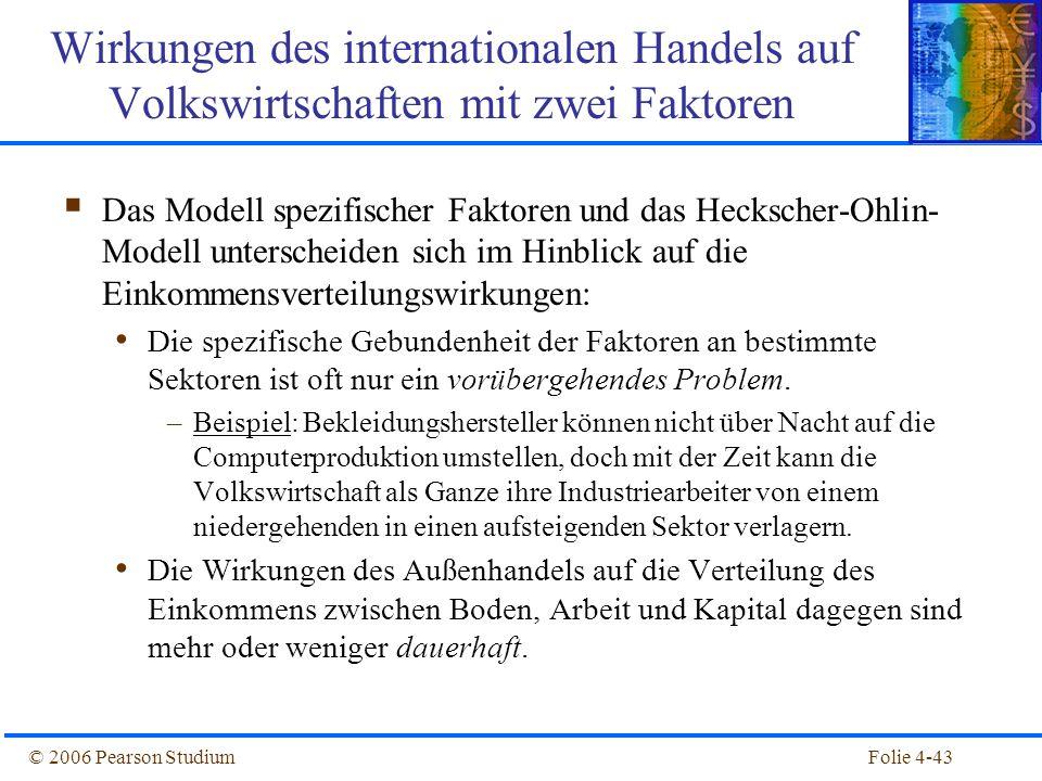 Folie 4-43© 2006 Pearson Studium Das Modell spezifischer Faktoren und das Heckscher-Ohlin- Modell unterscheiden sich im Hinblick auf die Einkommensver