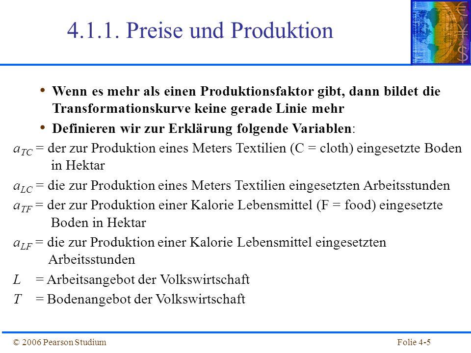 Folie 4-16© 2006 Pearson Studium Preise und Produktion Abbildung 4.4: Mögliche Faktoreinsatzkombinationen in der Lebensmittelproduktion Zusammensetzung des Faktoreinsatzes w = Lohnsatz (wage) r = Preis für Boden (rent) a TC = Einsatz von Boden in Textilproduktion a TC = Einsatz von Arbeit in Textilproduktion