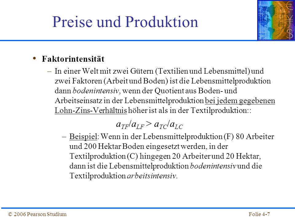 Folie 4-38© 2006 Pearson Studium Ohne Außenhandel –In Inland (arbeitsreich) ist das Preisverhältnis P C /P F kleiner als im Ausland (bodenreich), weil Textilien arbeitsintensiv und Nahrung bodenintensiv ist.