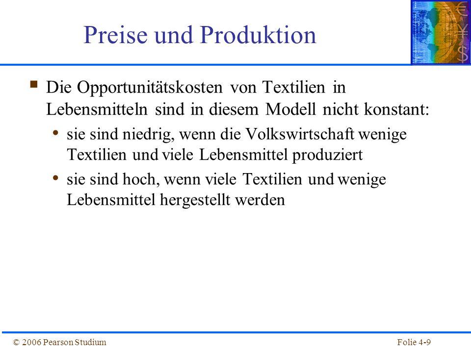 Folie 4-10© 2006 Pearson Studium Etwas realistischer: Wenn eine wechselseitige Substitution von Boden und Arbeit in der Produktion zugelassen wird, dann nimmt die Transformationskurve eine gekrümmte Form an Preise und Produktion