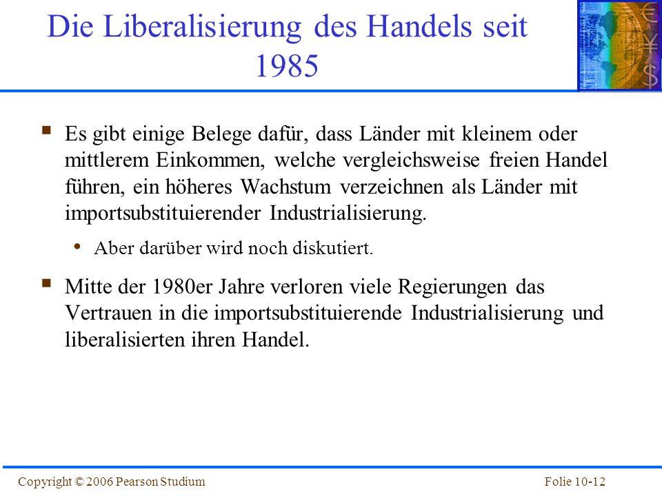Folie 10-12Copyright © 2006 Pearson Studium Die Liberalisierung des Handels seit 1985 Es gibt einige Belege dafür, dass Länder mit kleinem oder mittle