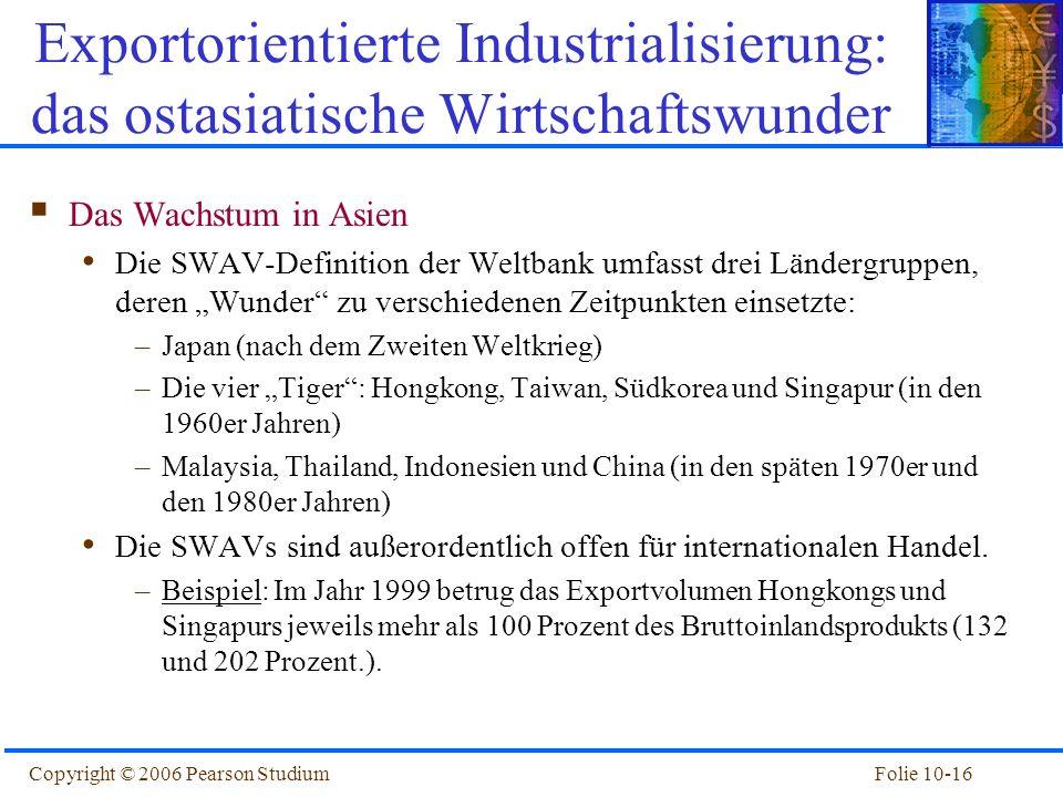Folie 10-16Copyright © 2006 Pearson Studium Das Wachstum in Asien Die SWAV-Definition der Weltbank umfasst drei Ländergruppen, deren Wunder zu verschi