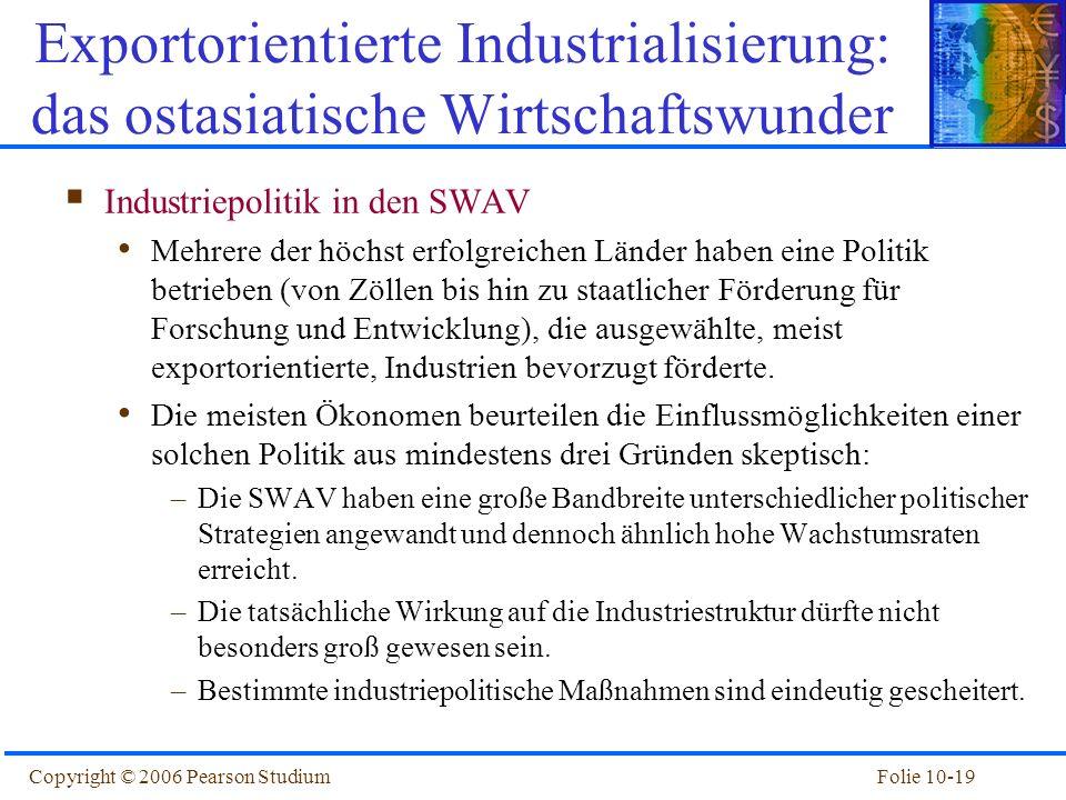 Folie 10-19Copyright © 2006 Pearson Studium Industriepolitik in den SWAV Mehrere der höchst erfolgreichen Länder haben eine Politik betrieben (von Zöl