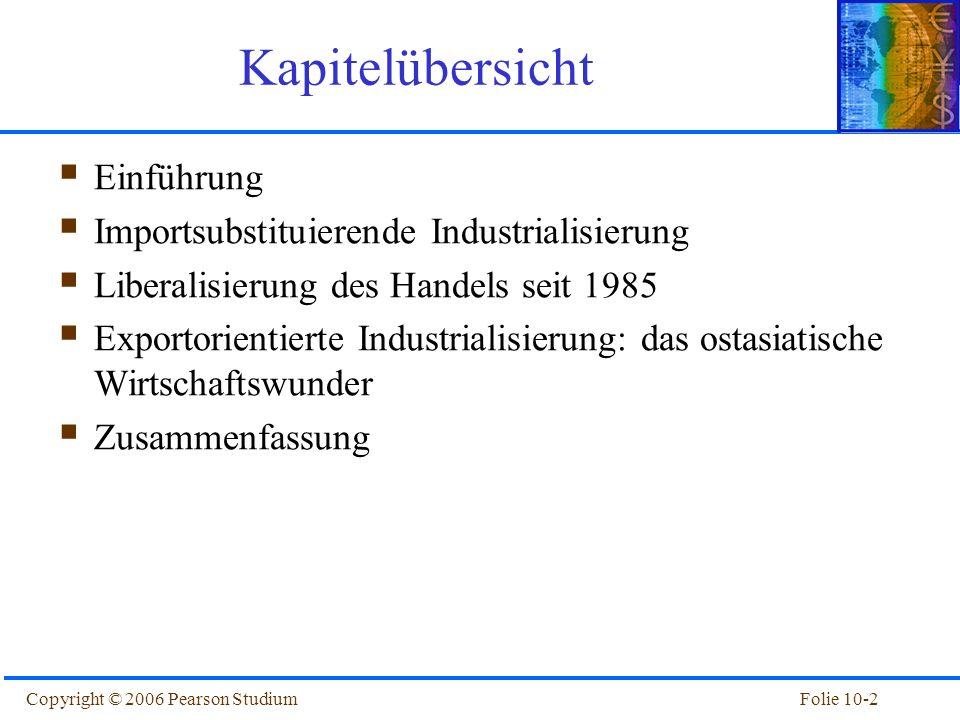 Folie 10-2Copyright © 2006 Pearson Studium Kapitelübersicht Einführung Importsubstituierende Industrialisierung Liberalisierung des Handels seit 1985