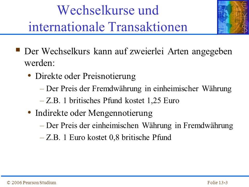 Folie 13-14© 2006 Pearson Studium Abbildung 13.2: Devisenkassa- und Devisenterminkurse für den Wechselkurs Dollar/Pfund, 1981-2004 Wechselkurse und internationale Transaktionen