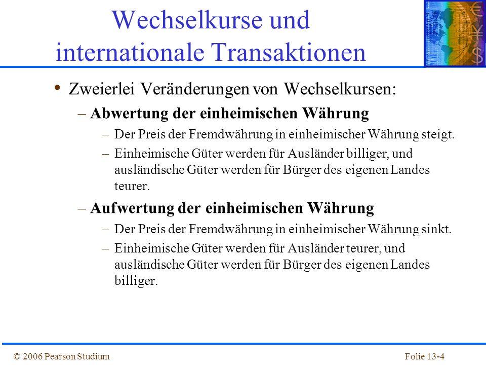 Folie 13-25© 2006 Pearson Studium Zinsparität Die Zinsparit ä tentheorie besagt, dass Anlagen im In- und Ausland dieselbe erwartete Rendite erbringen.