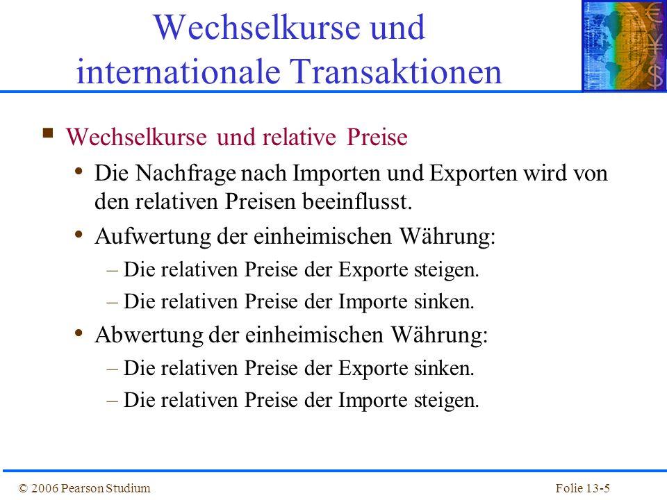 Folie 13-26© 2006 Pearson Studium Zinsparität Näherung: E 1 e / E 0 = (1+i) / (1+i*) Erwartete Abwertungsrate Zinsdifferenz Steigt der inländische Zins i, so wird Anlage im Inland attraktiver.
