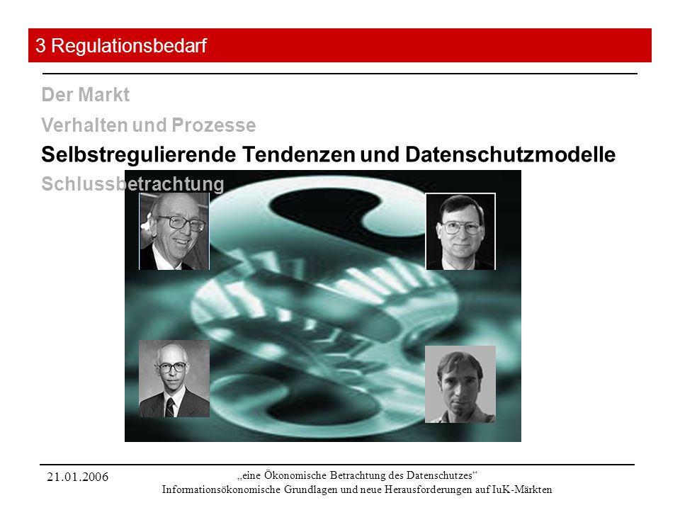 21.01.2006 eine Ökonomische Betrachtung des Datenschutzes Informationsökonomische Grundlagen und neue Herausforderungen auf IuK-Märkten 3 Regulationsb