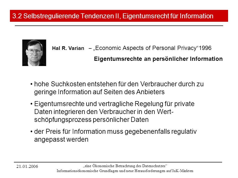 21.01.2006 eine Ökonomische Betrachtung des Datenschutzes Informationsökonomische Grundlagen und neue Herausforderungen auf IuK-Märkten 3.2 Selbstregulierende Tendenzen II, Eigentumsrecht für Information Hal R.