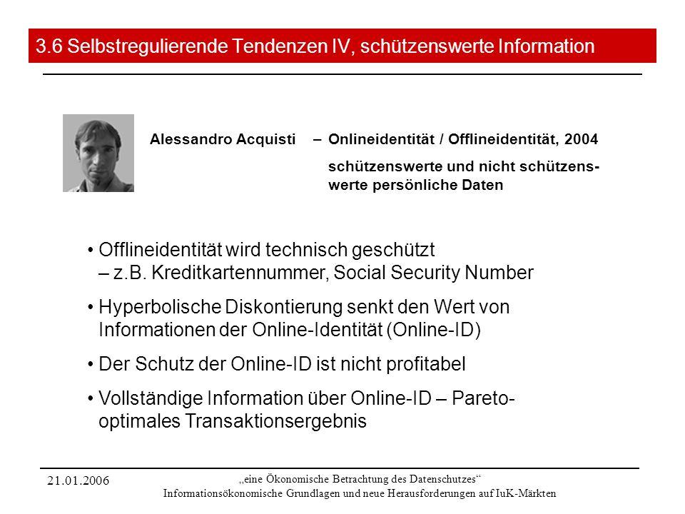 21.01.2006 eine Ökonomische Betrachtung des Datenschutzes Informationsökonomische Grundlagen und neue Herausforderungen auf IuK-Märkten 3.6 Selbstregu