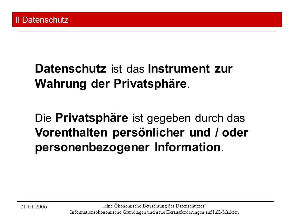 21.01.2006 eine Ökonomische Betrachtung des Datenschutzes Informationsökonomische Grundlagen und neue Herausforderungen auf IuK-Märkten II Datenschutz Datenschutz ist das Instrument zur Wahrung der Privatsphäre.